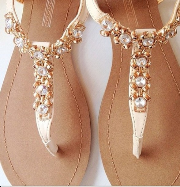 shoes sandals pearl white beige flat sandals gold
