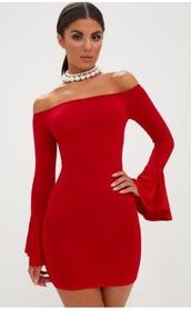 dress,bodycon dress,short dress,red dress,long sleeve dress
