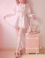 shoes,high heels,pastel,pink,bows,white,coat,handbag,dress