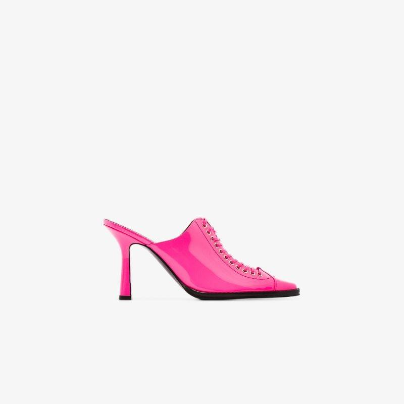 Sies Marjan Hot Pink Stella 90 Patent Leather Mules
