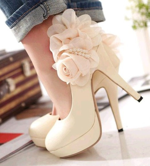 pearl cute shoes floral high heels bridal