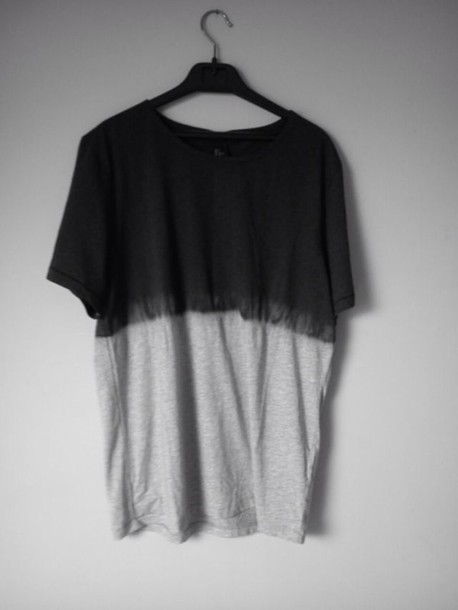 T-shirt: ombre bleach dye, black - Wheretoget