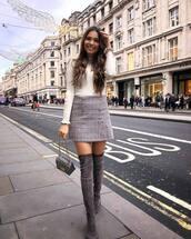 skirt,plaid skirt,knee high boots,handbag,white sweater,turtleneck sweater,streetstyle