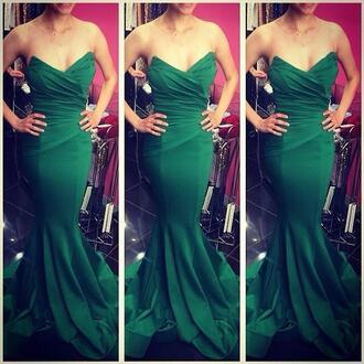 dress romantic dress dignified green dress strapless dress evening dress sleeveless dress
