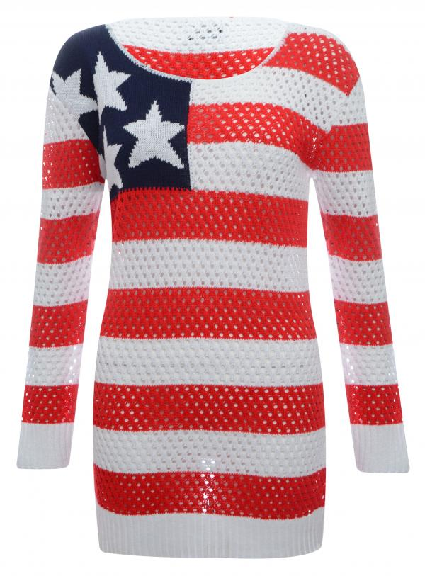Womens ladies stars and stripes usa american flag crochet jumper dress 8 14