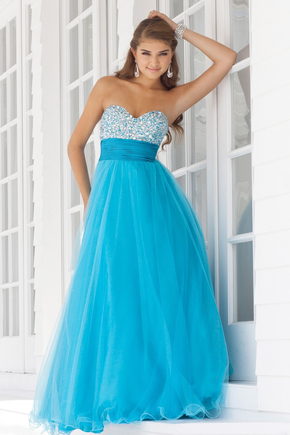 2012 Absorbing Dreamlike Fancy Sweetheart Neckline Ruffle Beads Working Blue Organza Satin Floor Length Prom Dress [PD-4375]
