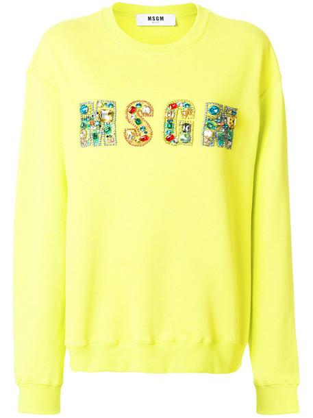 MSGM sweatshirt women embellished cotton yellow orange sweater