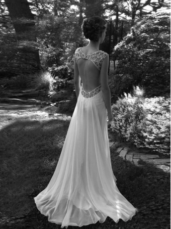 Custom Made A line Backless White Chiffon Wedding Dresses [W0013] - $286.99 : 24inshop