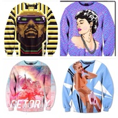 sweater,kanye west,miley cyrus,vma,dope,dope shit,kings,colorful prints
