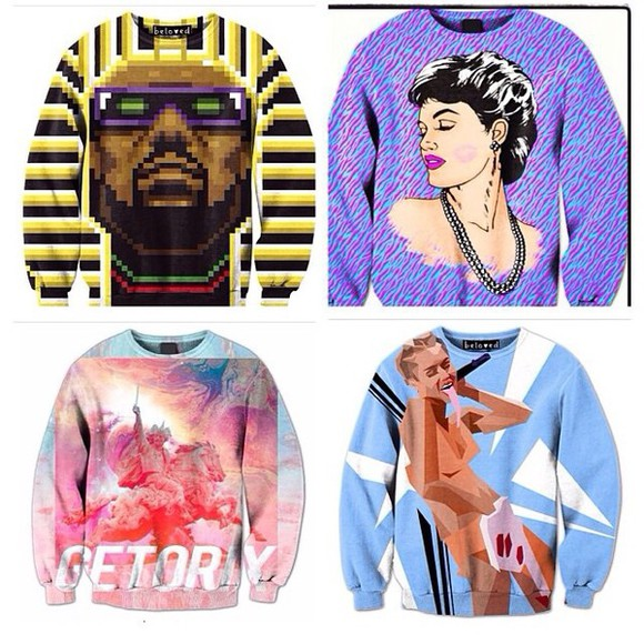 dope kanye west sweater miley cyrus vmas dope shit kings colorful prints