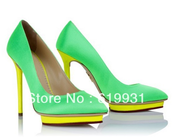 2013 New Arrival Women's Charlotte Olympia Debonaire Heart Platform Satin Pump Neon Green Thin Heels High Heeled Shoes-in Pumps from Shoes on Aliexpress.com