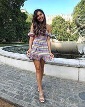 shoes,dress,short dress,colorful dresss,stripes,sandals,white sandals,bag
