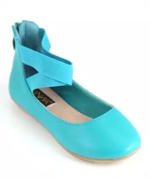shoes ballet flats turquoise ankle strap