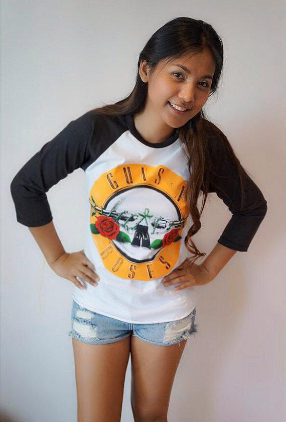 Guns n roses  metal band baseball tshirt 3/4 sleeve by petathai