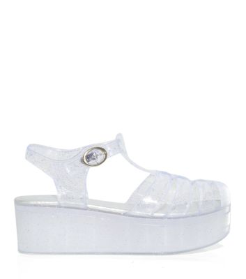 Clear flatform jelly sandals