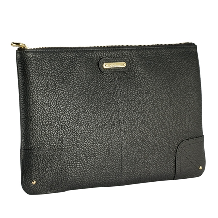 Black Uber Clutch | Pebble Grain Leather | GiGi New York