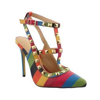 shoes rainbow multicolor heels pumps pointed toe slingback heels
