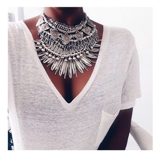 jewels necklace silver boho bohemian gypsy statement big festival coachella statement necklace jewelry silver necklace boho jewelry