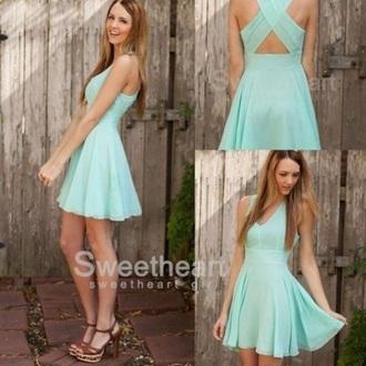 dress blue cross open back dresses