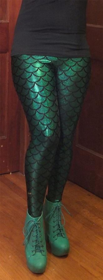 leggings mermaid green disney ariel
