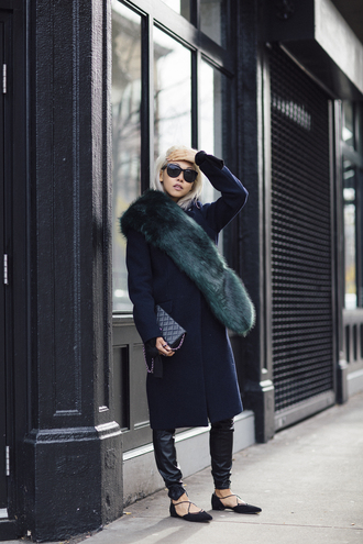 the haute pursuit blogger fur scarf fall accessories leather leggings strappy flats wool coat