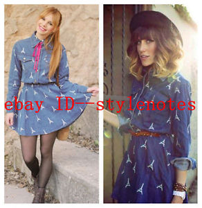 NEW!!! Chic Womens Long Sleeve Eiffel Tower Pockets Denim Short Mini Dress