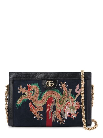 embroidered bag shoulder bag leather dark blue dark blue