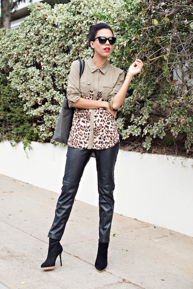 leopard print blogger bag style me grasie shirt leather pants