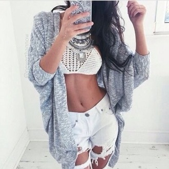 jewels necklace cardigan crop tops jeans top