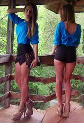 shorts,top,bow top,blue,blouse,shirt,backless,bows,cute