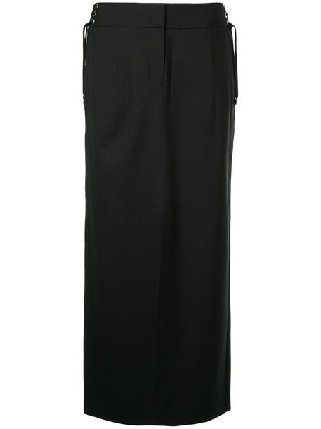 skirt lace up skirt women lace black wool