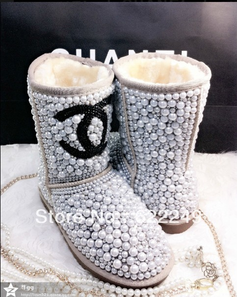 free shipping  designer luxury Diamond pearl 5825 snow boots for women,  Fashion Women Brand Winter Genuine Leather Fur Boots-in Boots from Shoes on Aliexpress.com