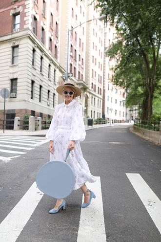 dress hat tumblr maxi dress puffed sleeves white dress bag blue bag pumps mid heel pumps sun hat shoes
