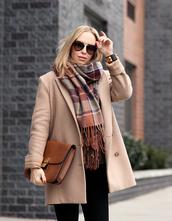brooklyn blonde,blogger,tartan scarf,satchel bag,wool coat,dior sunglasses,camel coat