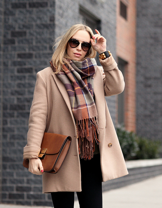 brooklyn blonde blogger tartan scarf satchel bag wool coat dior sunglasses camel coat