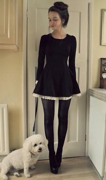 dress little black dress lace dress long sleeve dress black lovely goth classy dark lolita