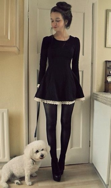 dress little black dress lace dress long sleeve dress black lovely tights shoes goth classy dark lolita asian fashion asian white black dress gothic lolita