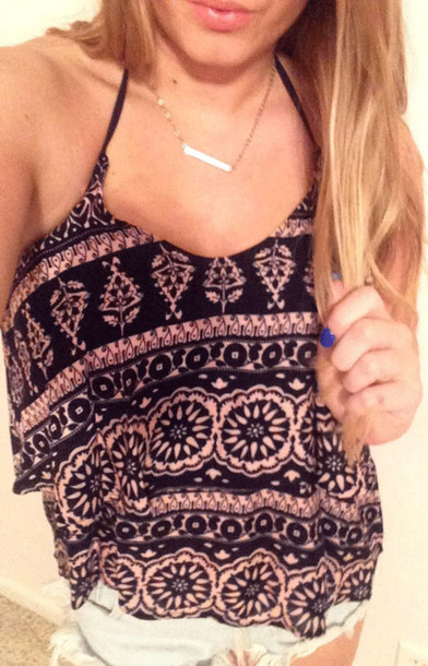 tank top halter top blue and pink