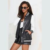 jacket,nastygal,varsity jacket,leather jacket,black and white
