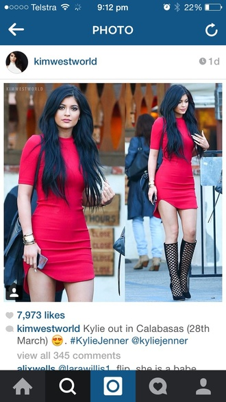 dress kylie jenner red dress red shoes