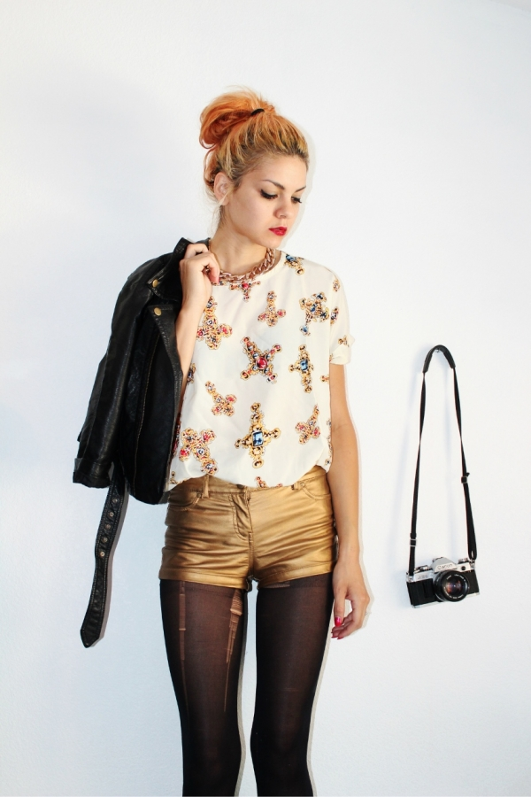 Cross Print Chiffon Shirt - OASAP.com