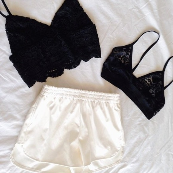 black tumblr tank top clothes white tumblr clothes shorts black and white bra bralette bralet lace underwear