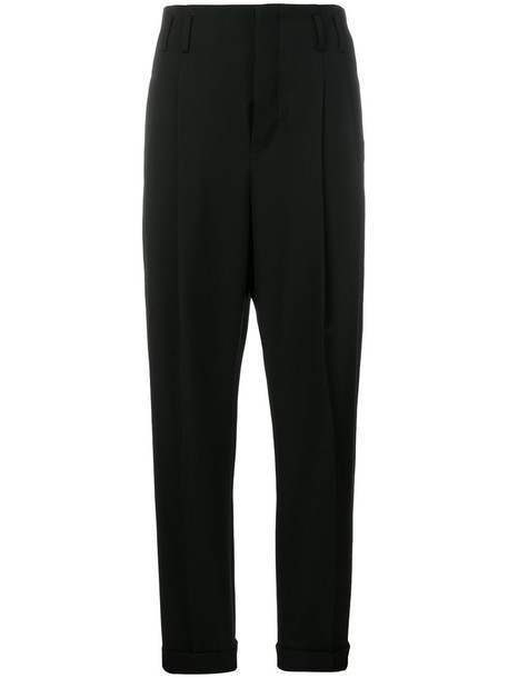 Haider Ackermann high waisted high women cotton black wool pants