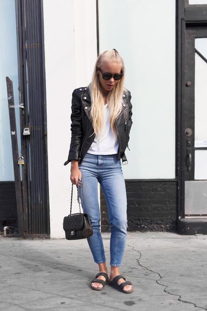 victoria tornegren blogger jeans perfecto black jacket shoes bag jacket