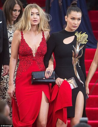 bag gigi hadid bella hadid model red dress plunge v neck slit dress black dress cannes long sleeve dress