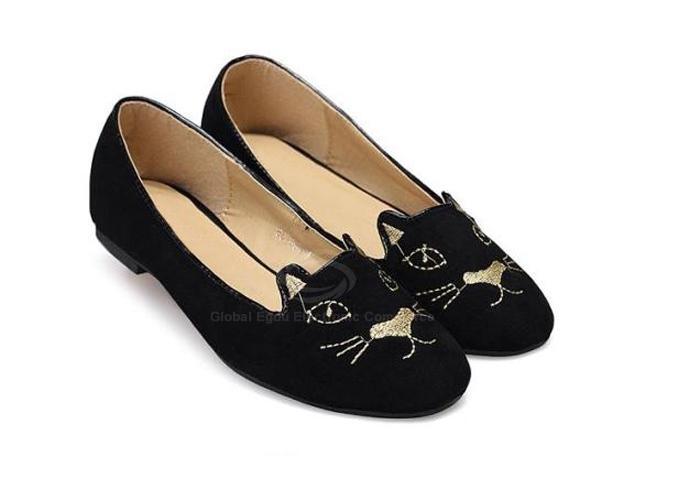Chaussures à bouts ronds motifs de chaton casual suède pour femmes (noir,39)