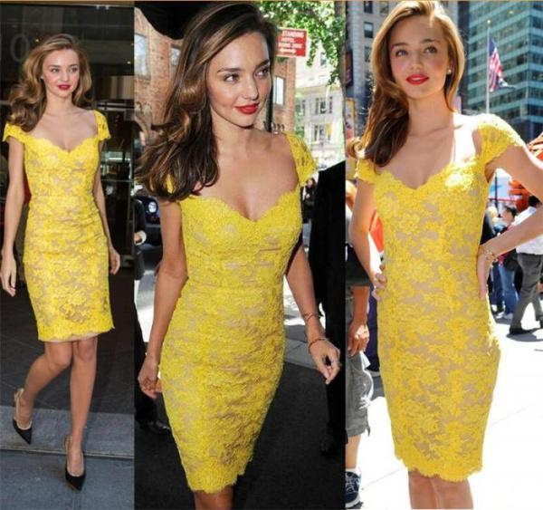 Discount fashion sexy miranda kerr evening dresses sweetheart with cap sleeve yellow lace backless short prom dress sheath cocktail party gowns cheap online with $109.95/piece