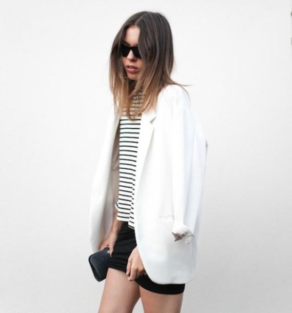 coat blogger blazer white minimalist