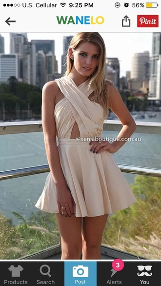dress cross over dress nude dress