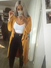 jacket,trench coat,mustard,long